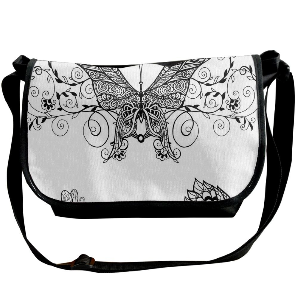 Kmeiqufan Butterfly With Floral Mandala Patterns Bohemian Decorations Butterfly Wings Unisex Wide Diagonal Shoulder Bag Adjustable Single Shoulder Backpack delicate