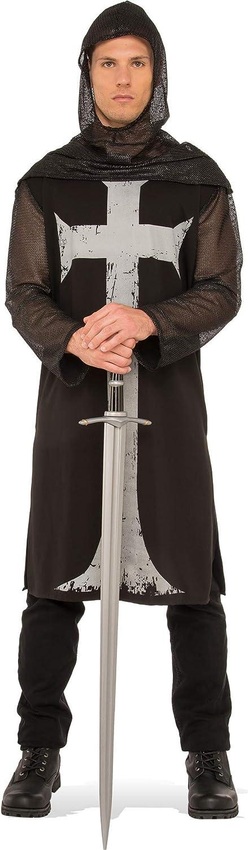 Rubies - Disfraz medieval de soldado cruzado para hombre, Talla Única, Negro