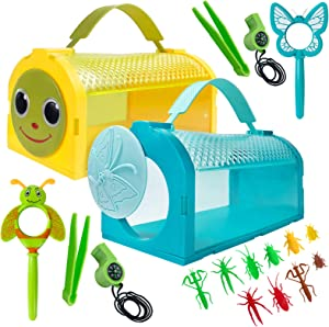 ESSENSON 2 Pcs Bug Catcher Kit Critter Cage Butterfly Bug House, Outdoor Explorer Kit with Tweezers, Magnifying Glass, Whistles for Backyard Exploration