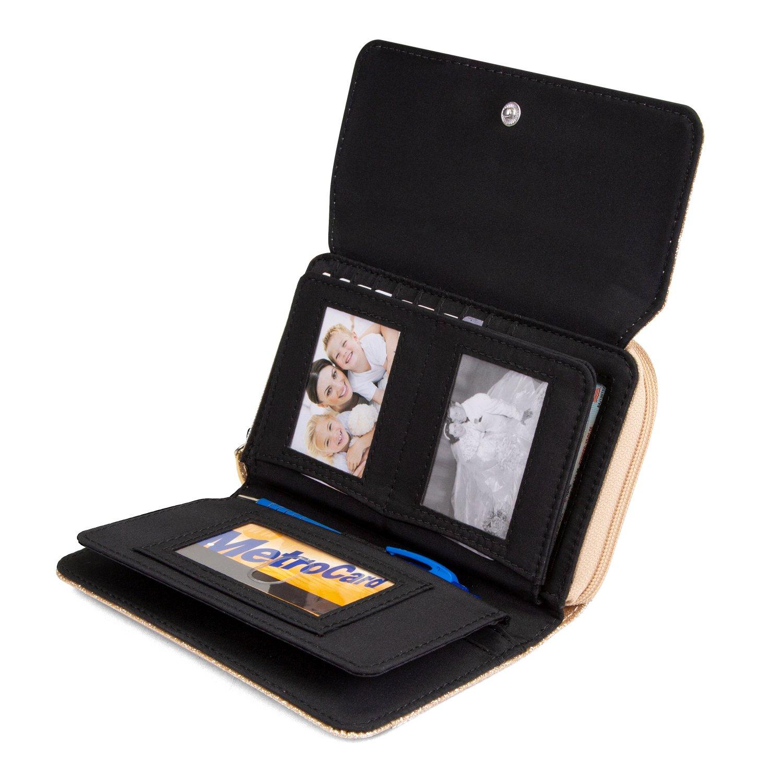 Mundi Big Fat Wallet Womens RFID Blocking Wallet Card Carrier Clutch Organizer (Gold (Glitter)) by Mundi (Image #3)
