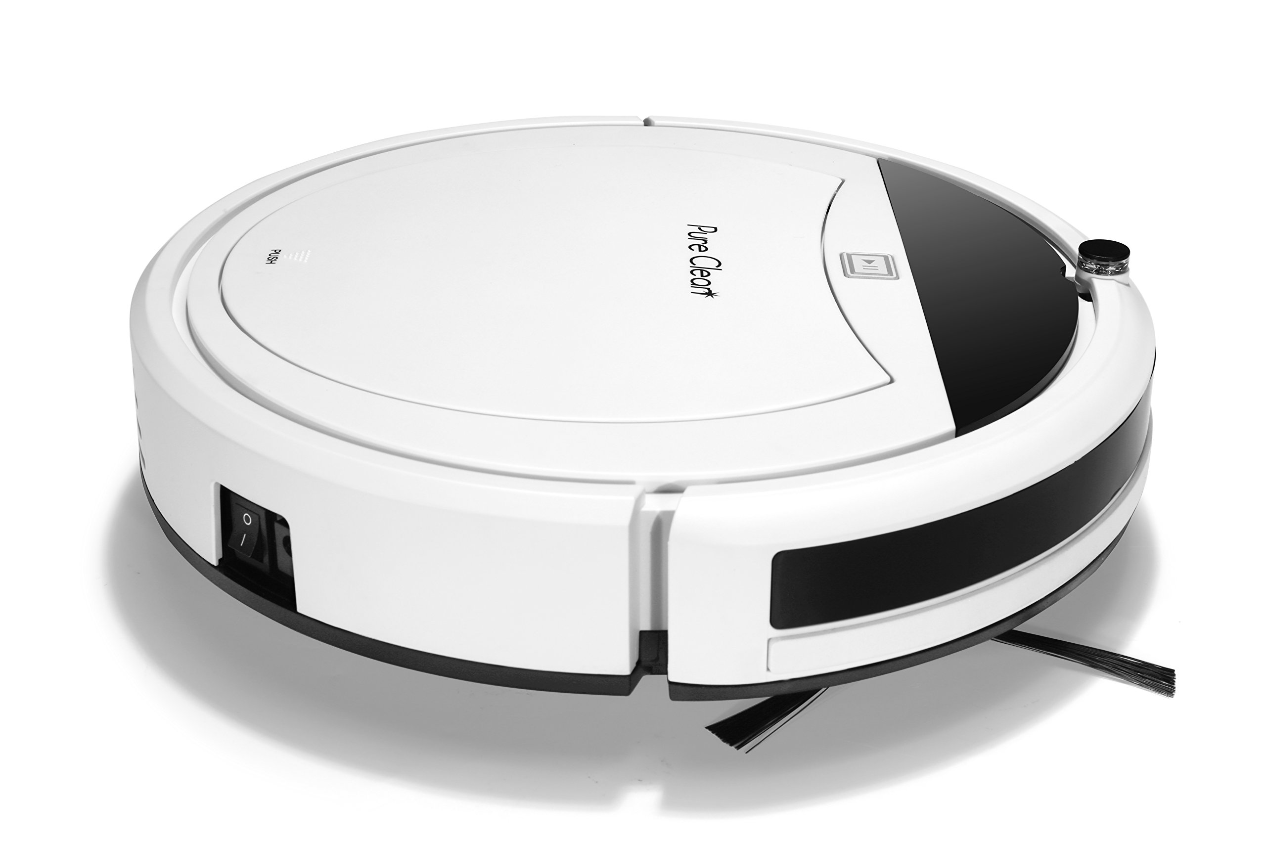 Smart Programmable Robot Vacuum Cleaner - Gyro Sensor Home Navigation, Scheduled Activation & Automatic Charge Dock - Robotic Auto Cleaning for Carpet Hardwood Floor - PureClean PUCRC105_0 by PURE CLEAN