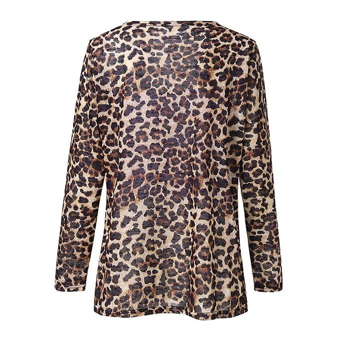 Linlink Mujer más tamaño de Leopardo de impresión asimétrica Abierta Frente Chaqueta de Cardigan de Moda: Amazon.es: Ropa y accesorios