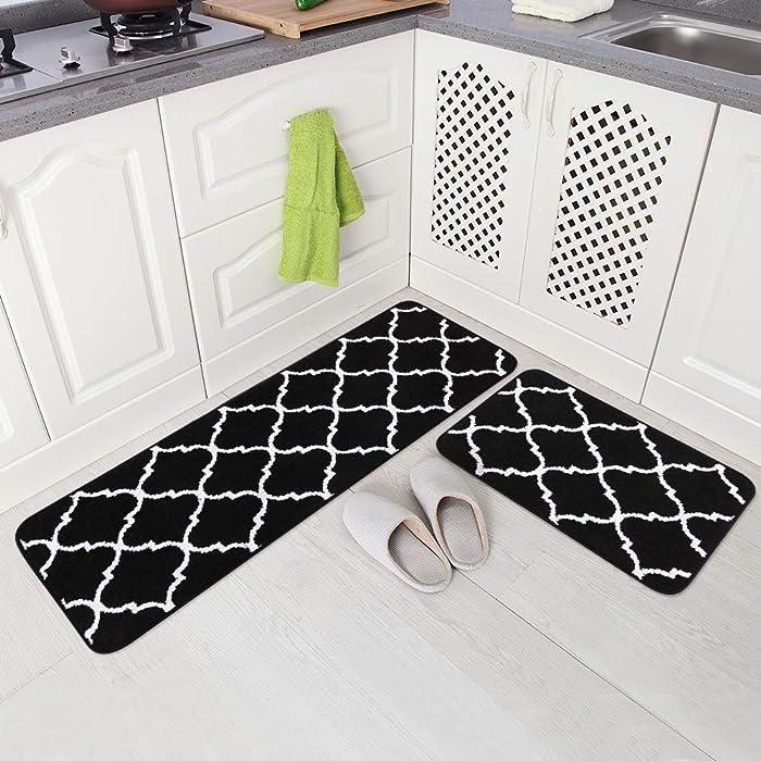 "Carvapet 2 Pieces Microfiber Moroccan Trellis Non-Slip Soft Kitchen Mat Bath Rug Doormat Runner Carpet Set, 17""x48""+17""x24"", Black"
