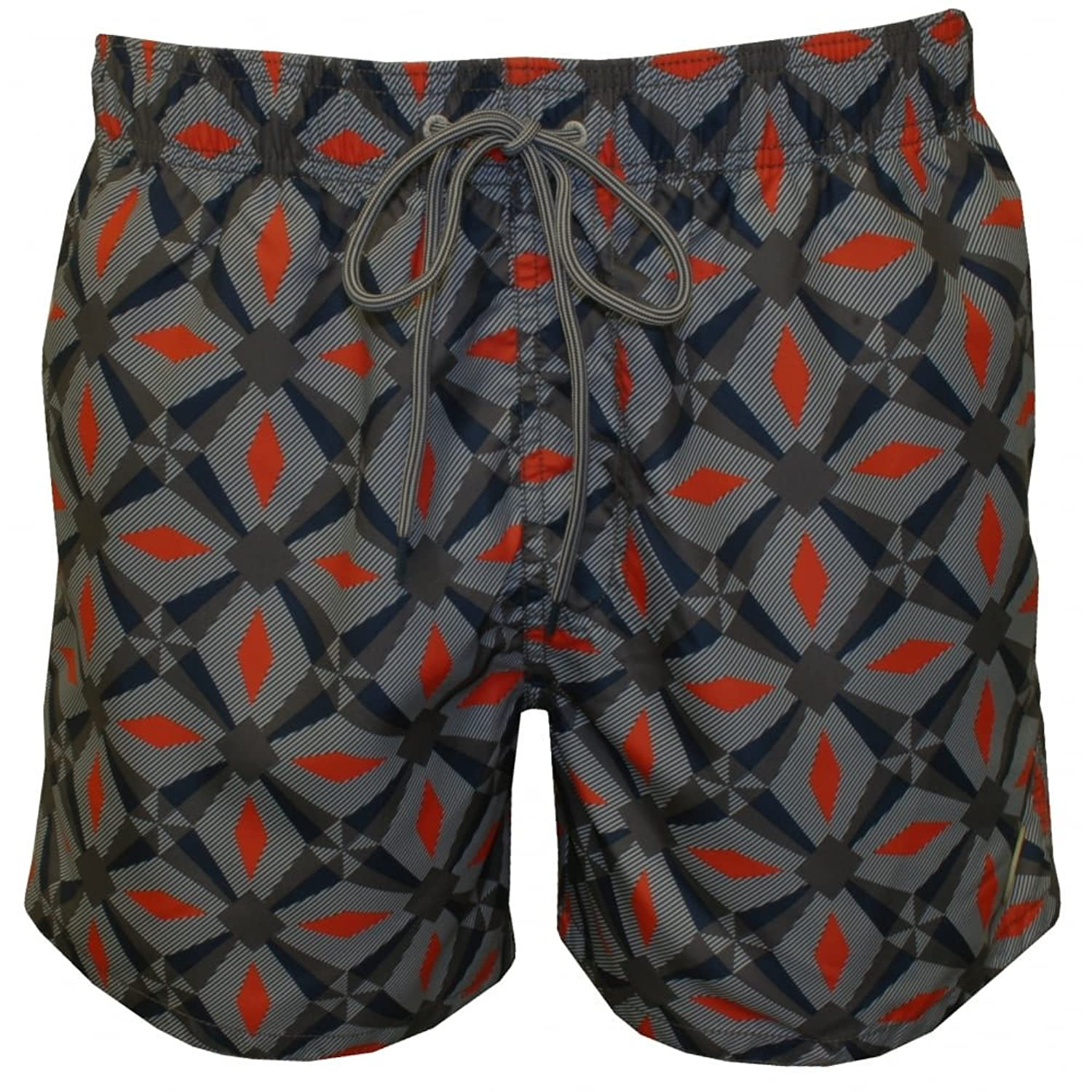 Ted Baker Oversized Geo Print Men's Swim Shorts, Navy/Orange X-Large