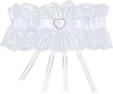 Brides Bleu Satin et Dentelle Blanche Strass Coeur Jarretière