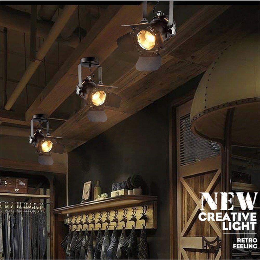 EuSolis Loft Vintage Industrial Iron Mount Spotlight E27 Track Lighting Ceiling Shop Light Fixtures LED Pendant Lights Ceiling Lights for Home Lighting