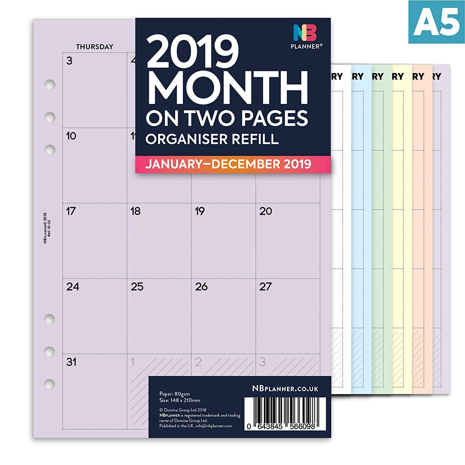 Nbplanner® 2019 mese su due pagine A5 Filofax Panner compatibile, in inglese organiser refill inserto colorato A5 rosa Domina Group Ltd