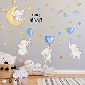 Colorful Balloon Flying Animals Wall Decals, Cute Elephant Love Hearts and Stars Wall Stickers, DILIBRA Removable Peel and Stick Cartoon Neutral Vinyl Wall Decor for Kids Nursery Bedroom Living Room