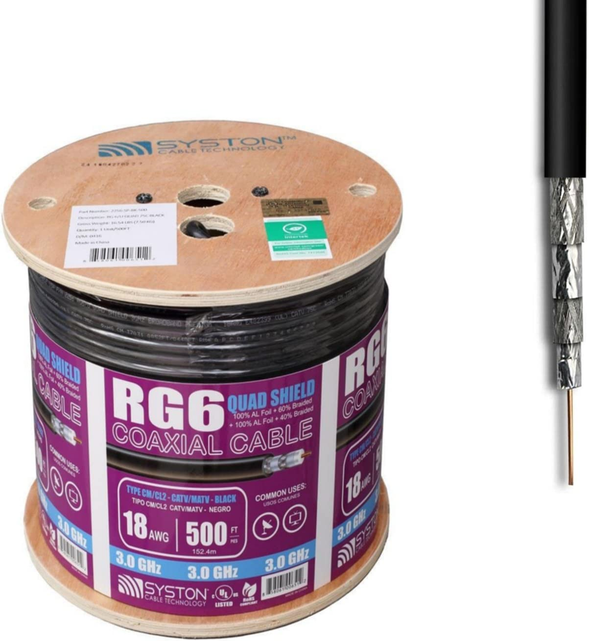 Cable coaxial RG6 Quad Shield de 500 pies, color negro: Amazon.es ...