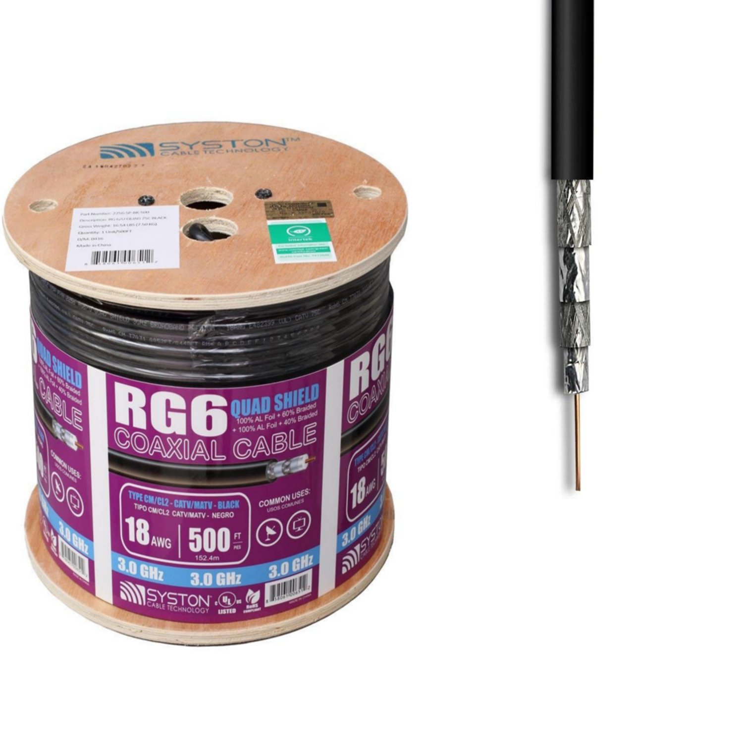 Amazon.com: RG6 Quad Shield 500 ft. Negro cm Cable Coaxial ...
