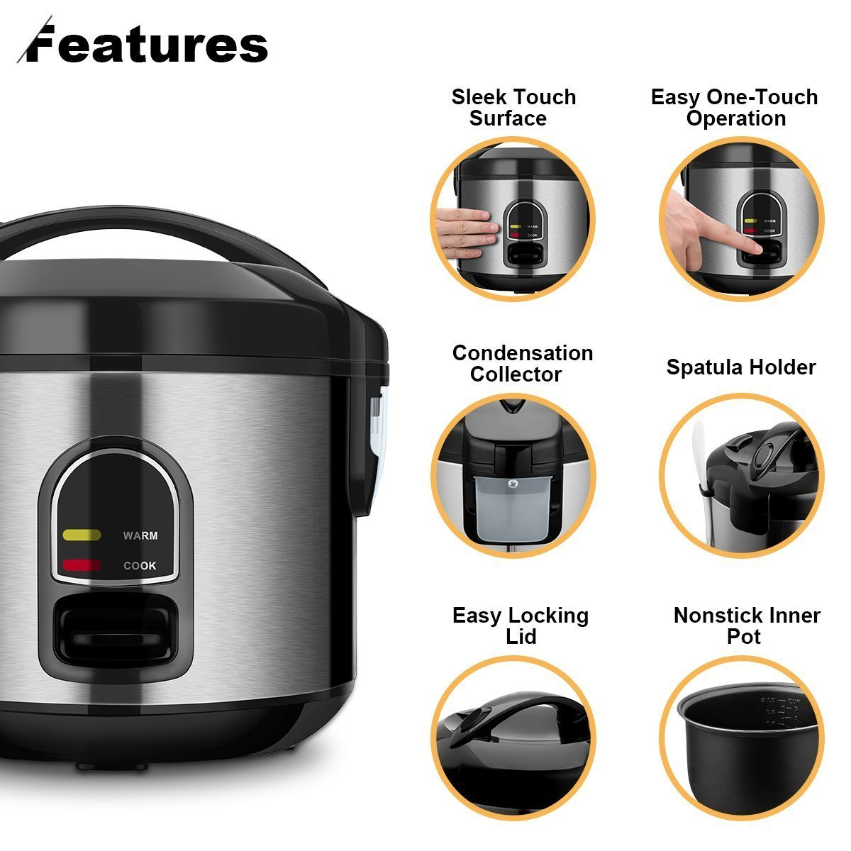 Small Rice Cooker Food Steamer, Home Gizmo 5-Cup (Uncooked) Mini Rice Cooker Multi-Food Steamer for Grains and Hot Cereal with One-Touch Control and Automatic Keep Warm Function by Home Gizmo (Image #3)
