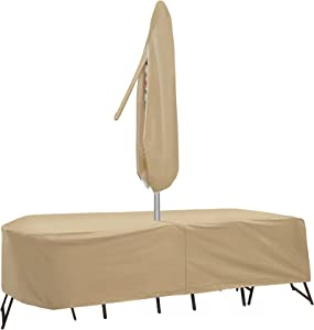 Protective Covers Weatherproof Patio Table and Chair Set Cover, 80 Inch x 96, Inch Oval/RectangleTable, Tan - 1151-TN