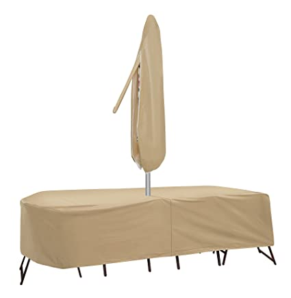 Protective Covers 1146-Tn 72 - 76 In. Oval And Rectangular Table And 6 High Back Chairs Cover& Tan