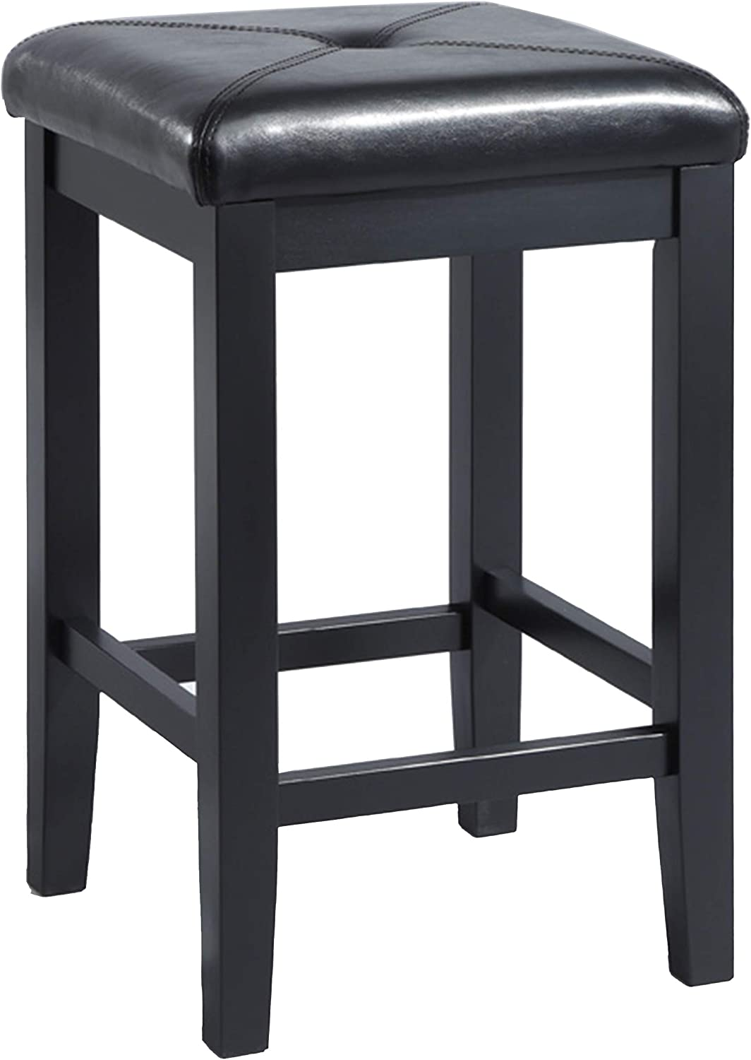 Crosley Furniture CF500524-BK Upholstered Square Seat Bar Stool (Set of 2), 24-inch, Black
