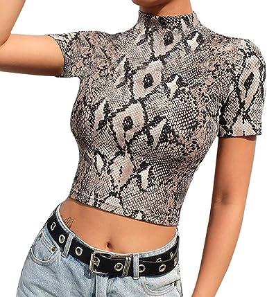 VJGOAL Mujer Moda Casual de Verano Sexy Delgado Cuello Alto Leopardo Manga Corta Camiseta Atractiva Crop Top Camisa(Medium, Caqui): Amazon.es: Ropa y accesorios
