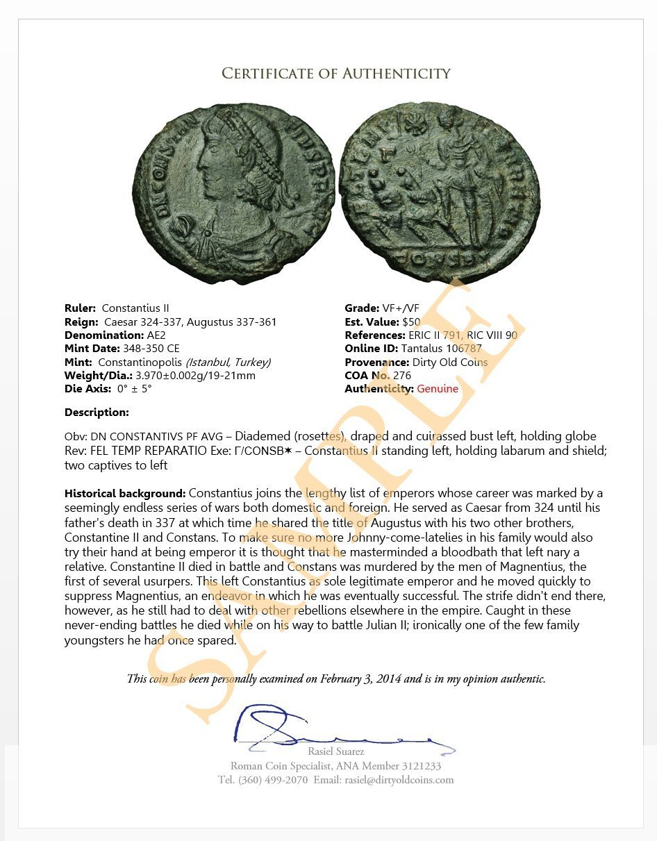 Certified Ancient Roman Coin - LYSB00M2I8T6K-TOYS < Coin Collecting