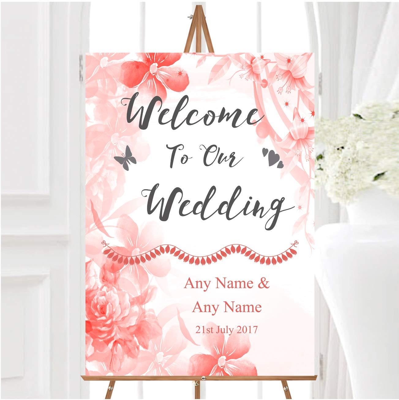 Coral Watercolour - Cartel de bienvenida a nuestra boda ...