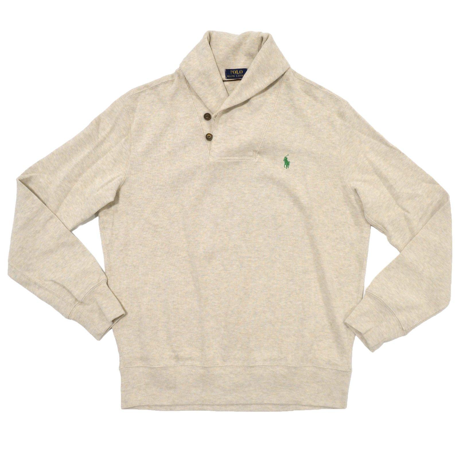 Polo Ralph Lauren Mens French Rib Shawl Neck Sweater (Small, Almond Heather)