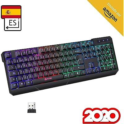 KLIM™ Chroma Wireless - Teclado inalámbrico Gaming ESPAÑOL + Teclado Gaming Ligero, Duradero, resiste al Agua, ergonómico, silencioso + Teclado Gamer PC PS4 Xbox One Mac + Nueva VERSIÓN 2020 + Negro