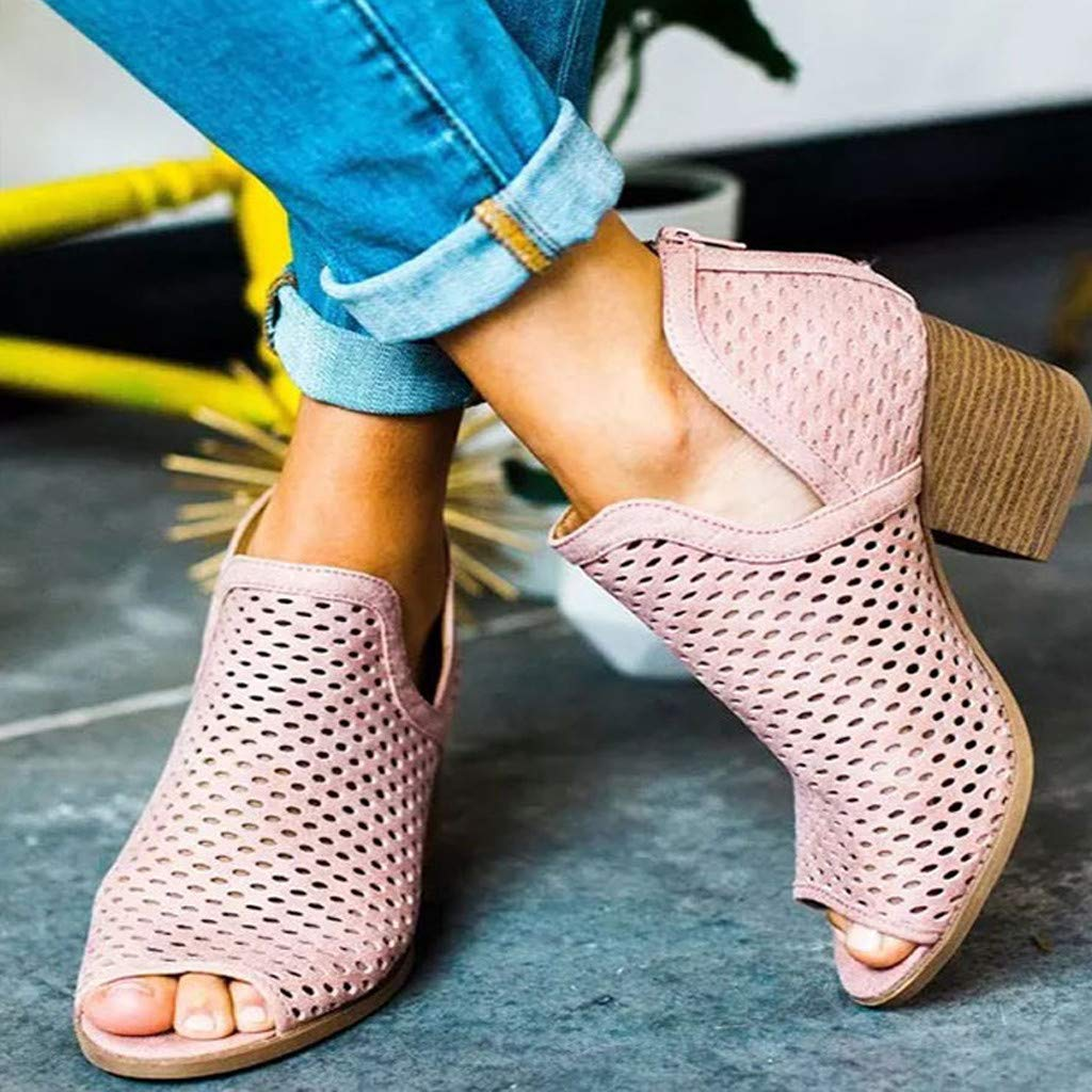Womens Ankle Boots Pointed Toe Mid-High Block Chunky Heel Cutout Slip-On Solid Booties Cowboy Shoes D/'Orsay Sandals