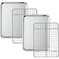 Baking Sheet with Cooling Rack Set [2 Sheets + 2 Racks], Deedro Stainless Steel Cookie Half Sheets Baking Pan Oven Tray…