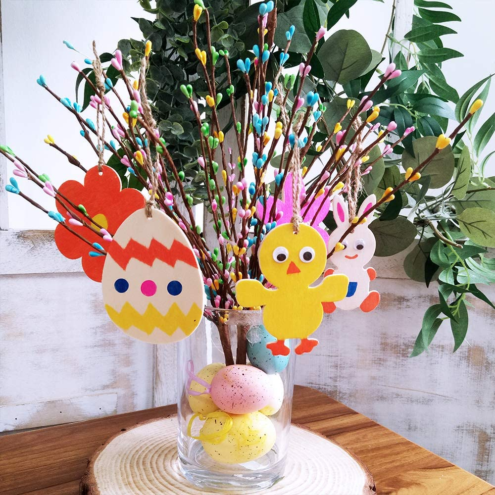 18 Pack Unfinished Wood Easter Ornaments Easter Egg Bunny Chick Tulip Cutouts with Holes Hang Tags Favor Tags Gift Tags Treats Tags with Strings Googly Wiggle Eyes for Easter Springtime Craft