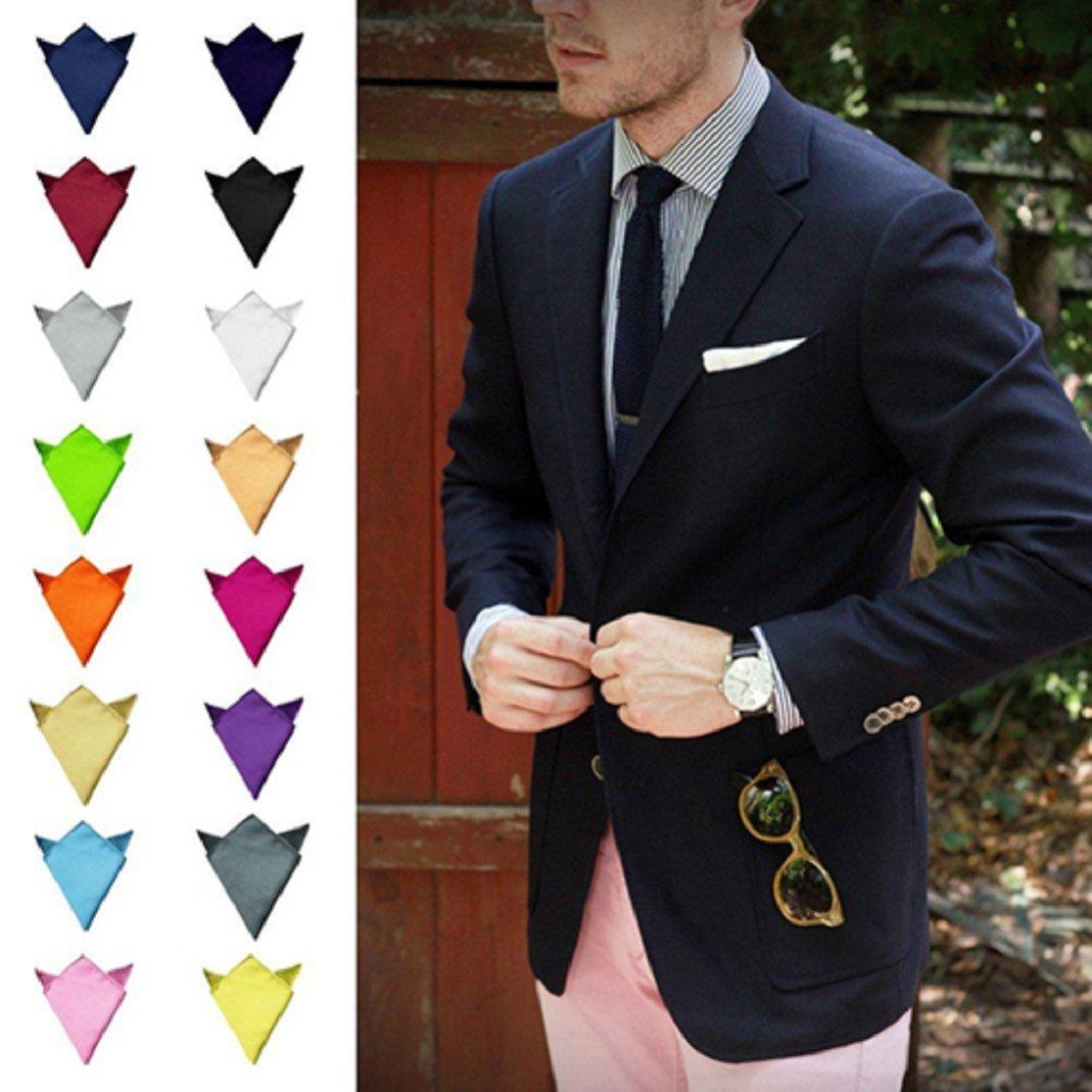 Shengyuze Mens Satin Solid Plain Color Handkerchief Hanky Pocket Square for Wedding Party