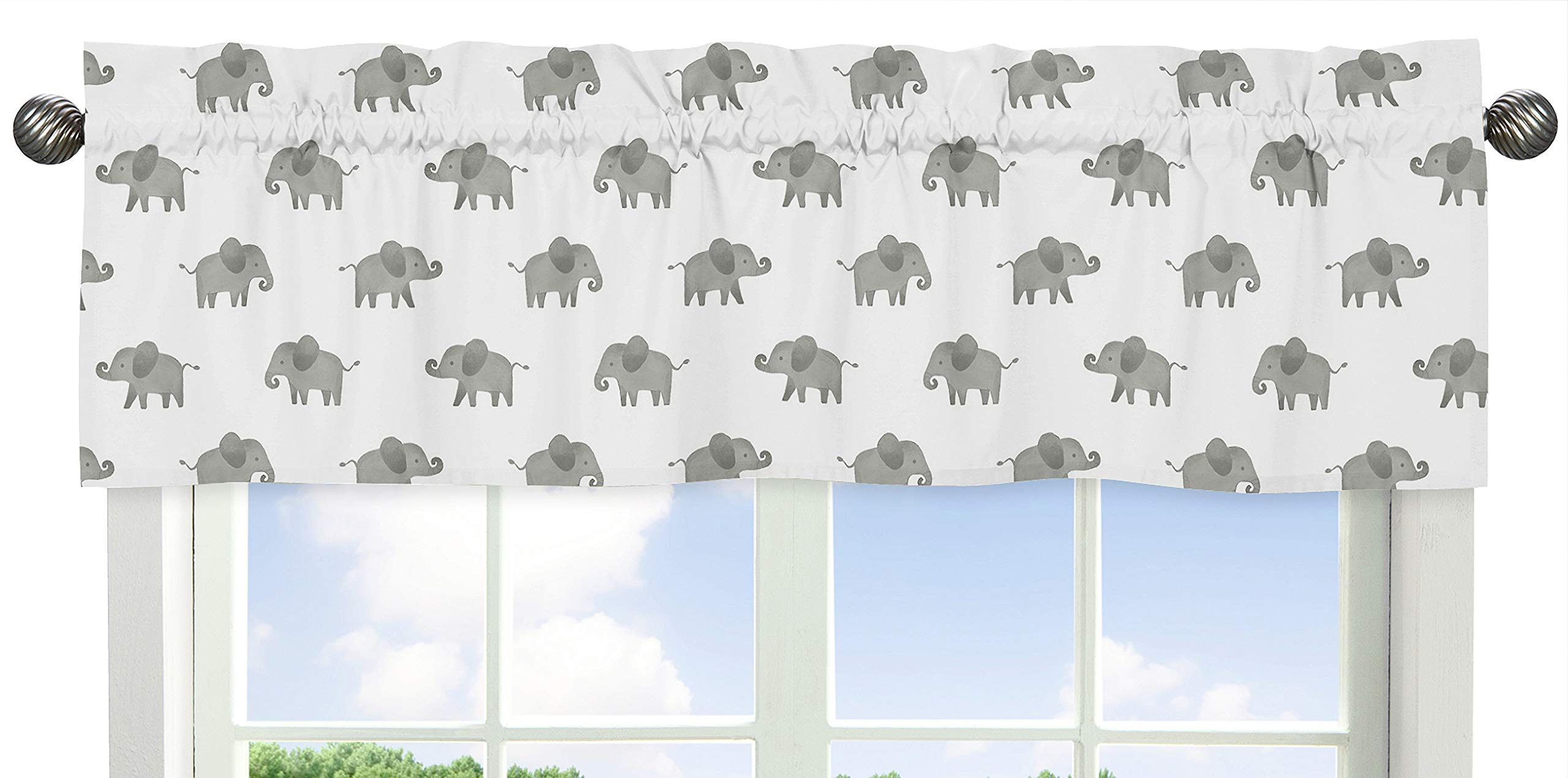 Sweet Jojo Designs Grey and White Window Treatment Valance for Mint Watercolor Elephant Safari Collection by Sweet Jojo Designs