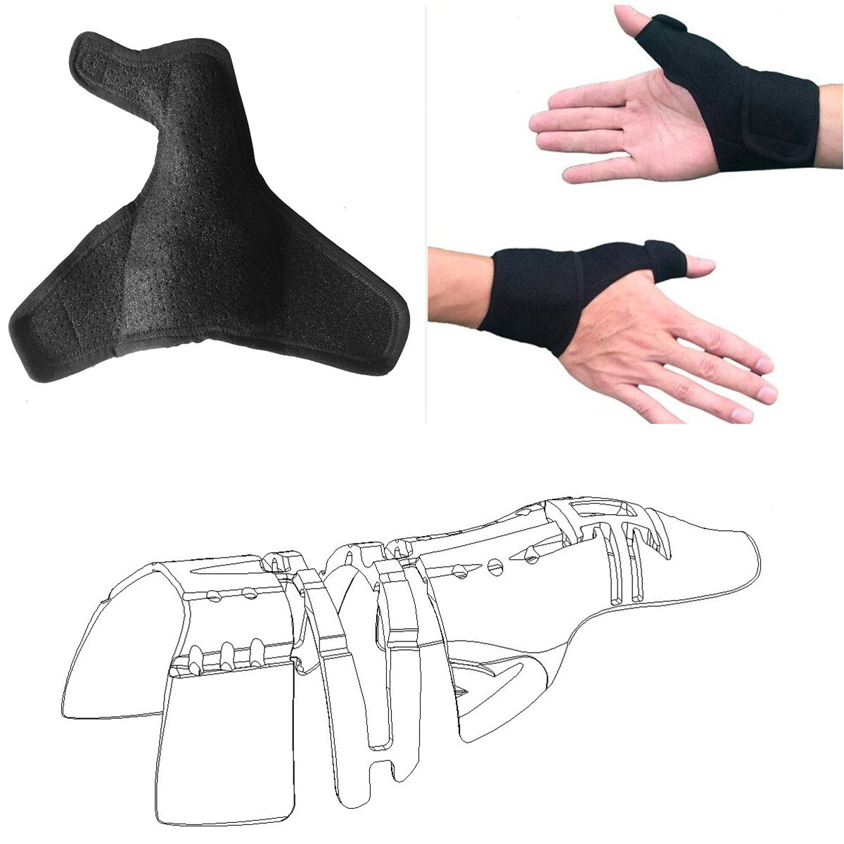 Thumb Brace Wraps Guard with Wrist Straps Braces (1 pcs,Unisex,Left & Right Hand,M),3D Full Thumb Splints Support Frame Stabilizer,Thumb Arthritis Pain Relief Brace