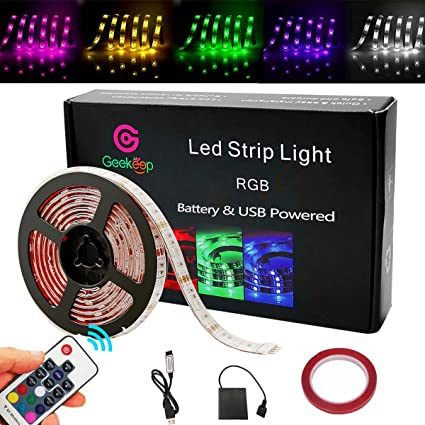 Amazon g geekeep battery powered led strip lights geekeep g geekeep battery powered led strip lights geekeep waterproof rgb led strip rope lights with aloadofball Choice Image