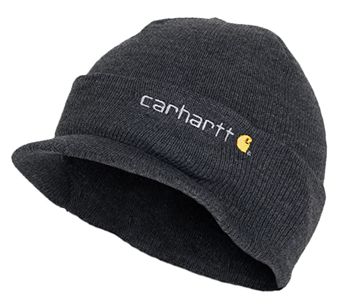 Carhartt - Winter Hat with Visor - Grey CHA164CLH Mens Beanie with peak  Wool Hat CHA164CLH 35a12dc3523