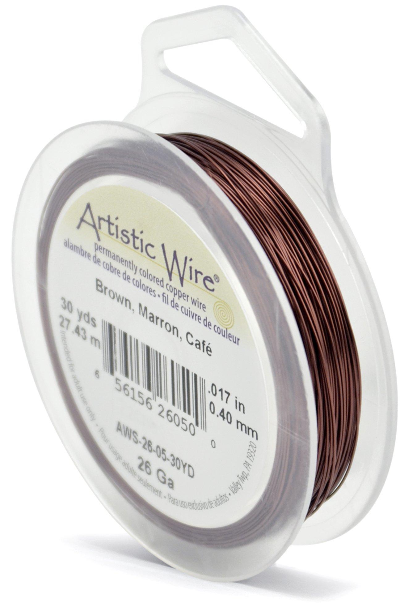 Beadalon Artistic, 26 Gauge, Brown Color, 30 yd (27.4 m) Craft Wire