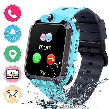 Kids Waterproof Smart Watch Phone, Smart Watch for Kids LBS Tracker Sports Watch with Pedometer Two-Way Call SOS Alarm Clock Digital Wrist Watch Kids ...