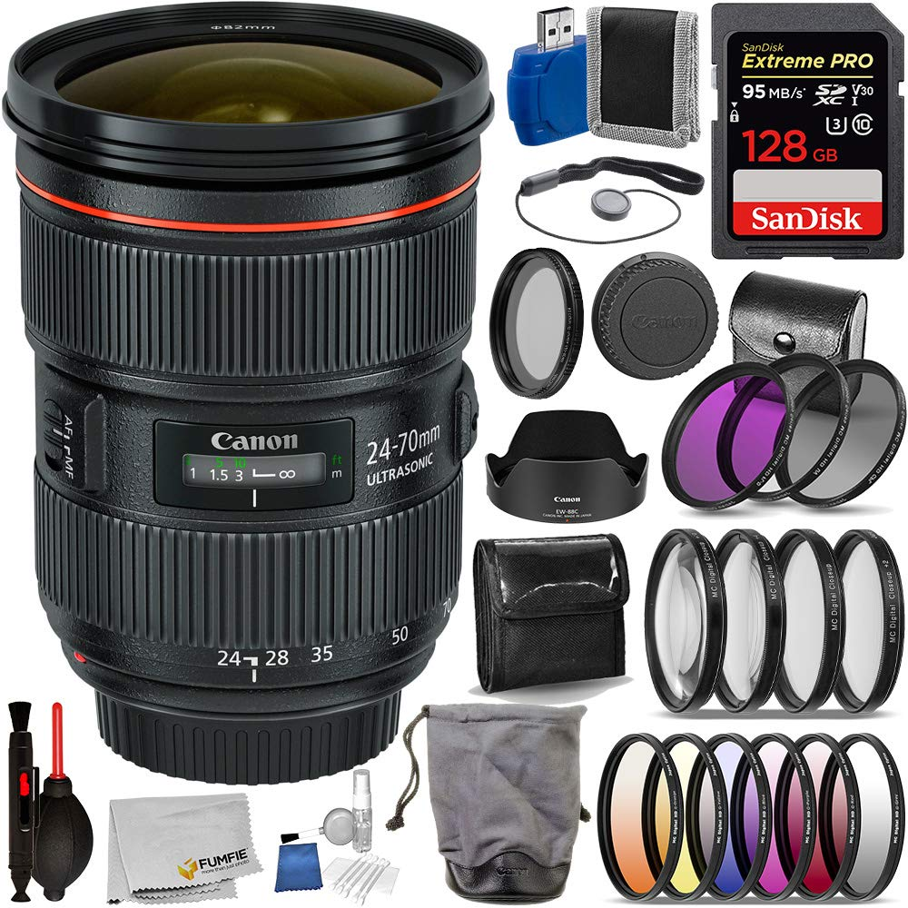 Canon EF 24-70mm f/2.8L II USM (#5175B002 USA) Advanced Bundle- Includes: SanDisk Extreme Pro 128GB Memory Card, 3pcs (UV, CPL, N-FLD) Filter Kit, 4pcs Close-up Fliter, and More by Canon