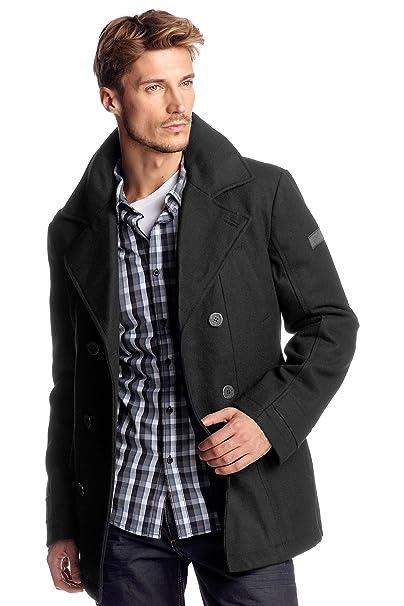 Esprit edc by Abrigo con cuello de solapa de manga larga para hombre, talla 48, color Negro 001: Amazon.es: Ropa y accesorios