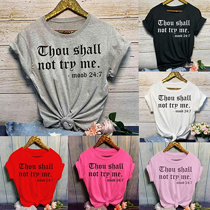 TRENDINAO 2020 Summer Casual Petite T-Shirt for Women Letter Printed Short Sleeve Tops Girls Cotton Comfy O-Neck Blouse