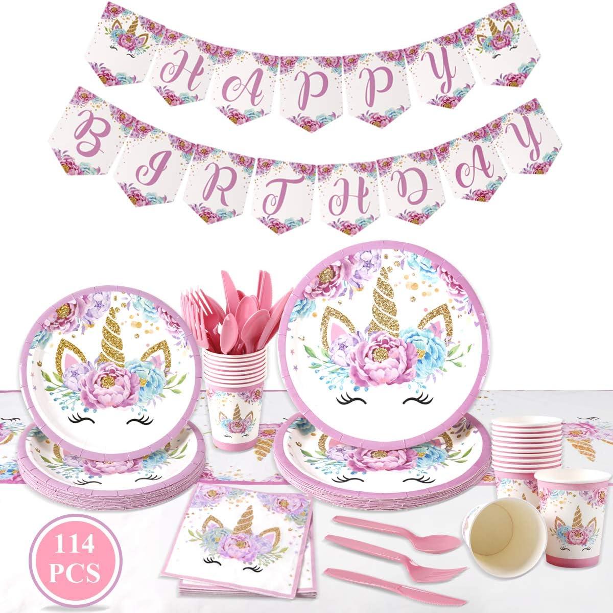 114pcs Unicorn Plate Cup Paper Towel Tablecloth Premium Set Party DIY Decor