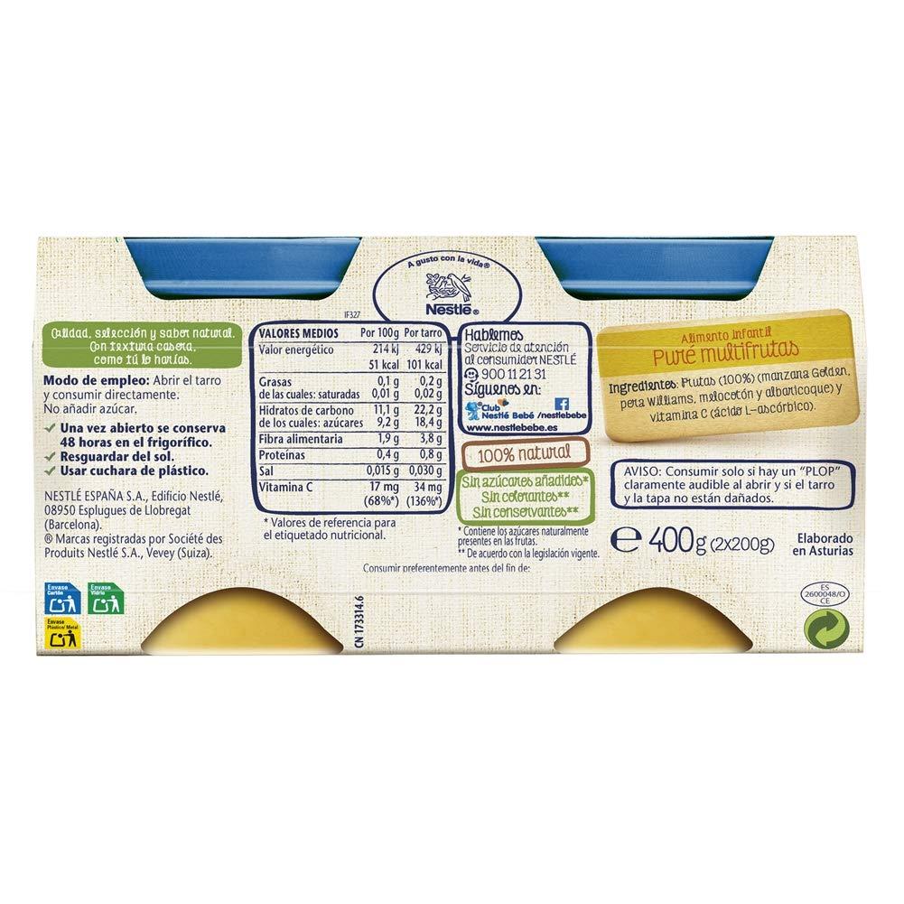 Nestlé Selección Tarrito de puré de fruta, variedad Multifrutas - Para bebés a partir de 4 meses - Paquete de 5x2 Tarritos de 200g: Amazon.es: Alimentación ...