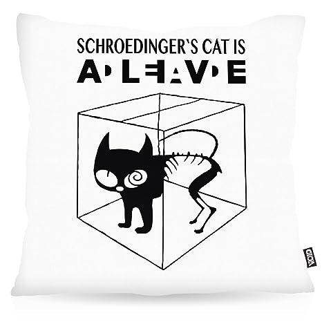VOID Gato de Schrödinger Cojín con Dibujo Funda de cojín ...