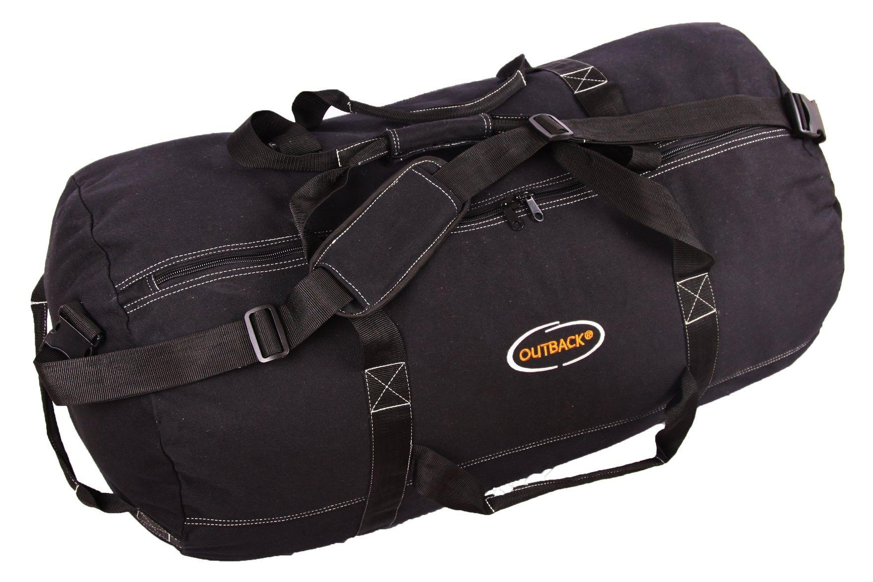 Ledmark Super Tough Heavyweight Cotton Canvas Duffle Bag, Black, Size XL, 36'' x 20''