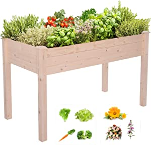 Raised Garden Bed,47 x 21 x 30in Wooden Elevated Garden Planter Outdoor Planters with Legs, Vegetables Flowers Outdoor Indoor Planting Box Container for Garden Patio Balcony (Without Wheels)