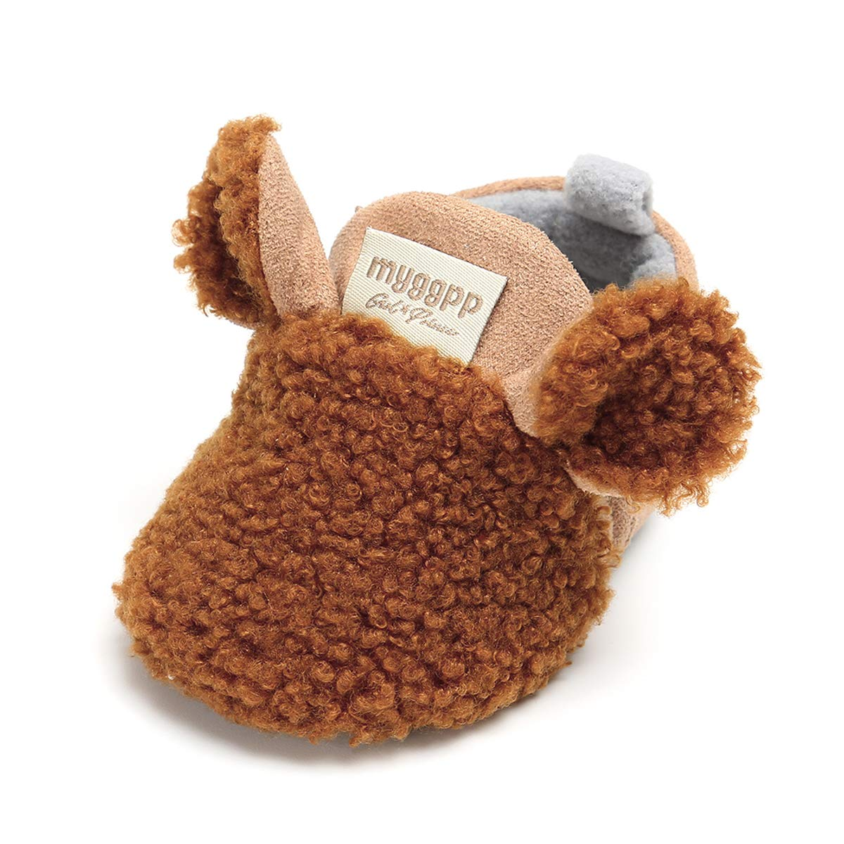 QGAKAGO Baby Girls Boys Plush Fleece Soft Sole Loafer Shoes Warm Shoes(0-6 Months, Brown)