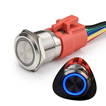 STARELO 19MM 3//4 Latching Push Button Switch 5A 12V 1NO1NC SPDT ON//OFF Waterproof Aluminum Black Shell with LED Ring with Wire Socket Plug Blue