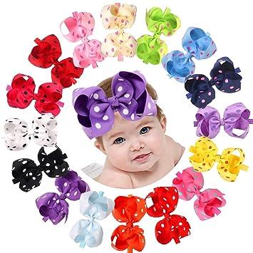 486a237d4 16Pack Baby Headbands 6 Inch Large Big Bows Grosgrain Ribbon Hair Bows  Headbands for Newborns Infants