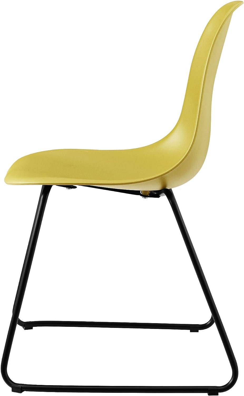 [en.casa] Set de 2 chaises de Designs - Plastique et métal - Blanc Moutard
