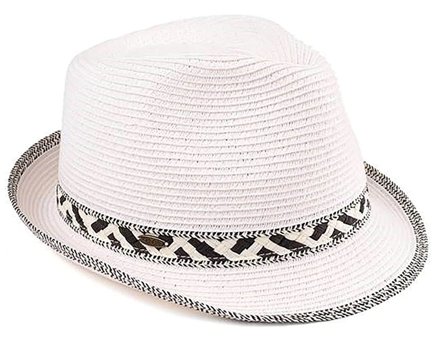 Adjustable Multicolor Woven Pattern Short Brim Fedora Hat Funky Junque UPF50