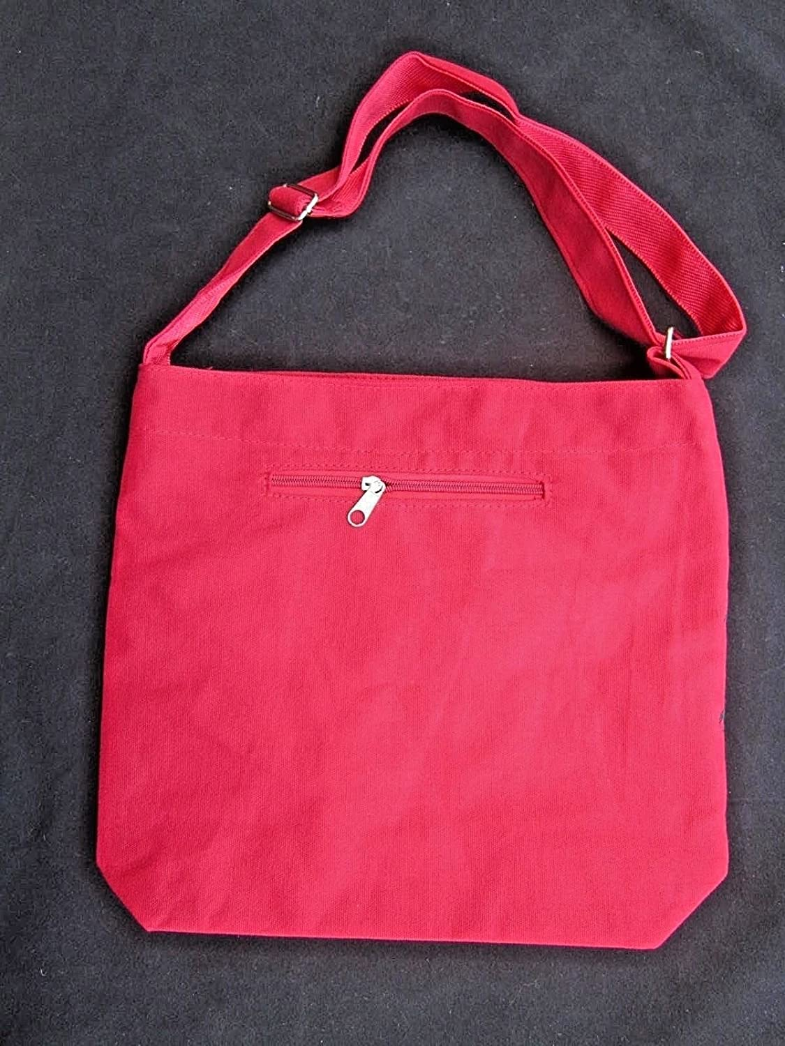 Chinese Messenger Bag in Red Canvas with Embroidered Black Dragon Design