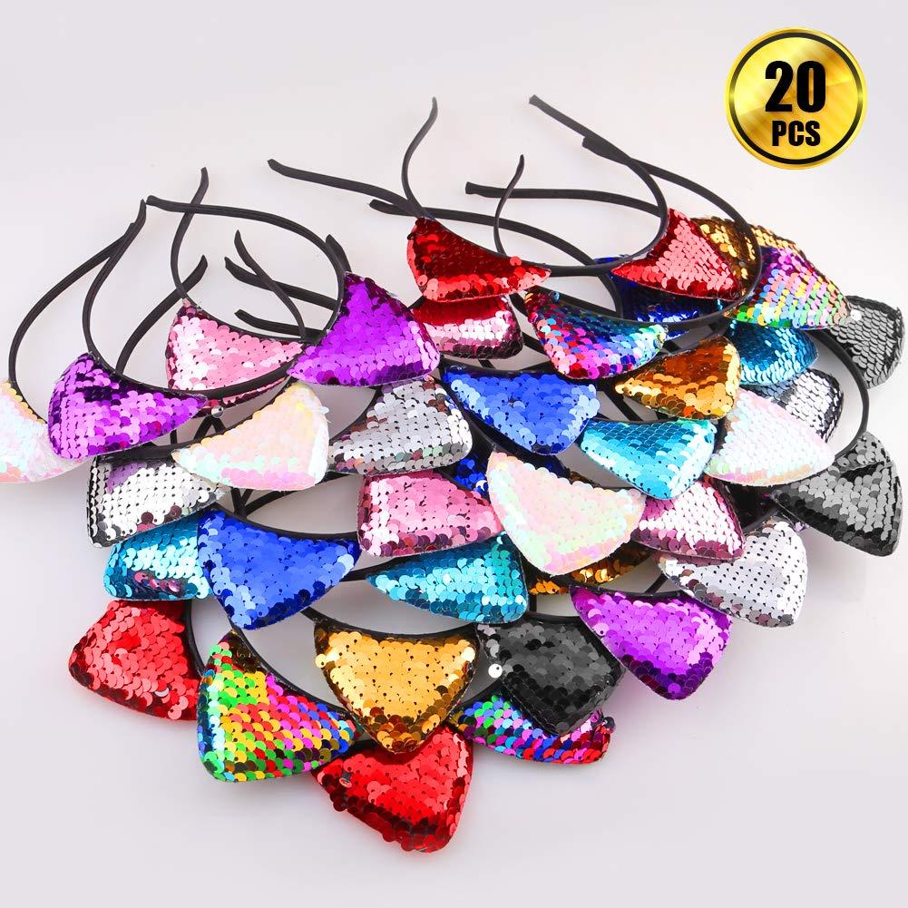 Amazon.com : WXJ13 20 Pieces Cat Ears Headbands Reversible sequin headband Cute Cat Headbands : Beauty