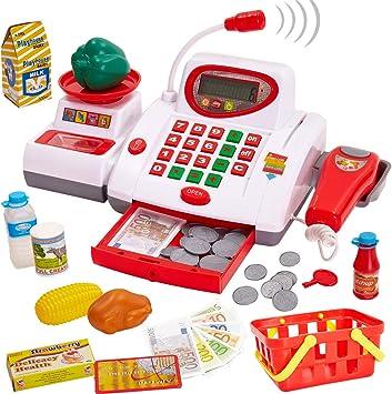 Buyger Caja Registradora Supermercado Juguetes con Micrófono Alimentos Escáner Juguete Juego de Imitacion para 3+ Años Niños: Amazon.es: Juguetes y juegos