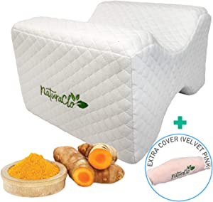 NaturaClo Turmeric Infused Legs Knee Pillow | Healing Booster Memory Foam Wedge Contour with Cooling Gel & 2 Covers | Orthopedic Pillow for Side Sleepers, Back Pain Relief, Pregnancy, Sciatica
